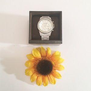 White jeweled Michael Kors watch